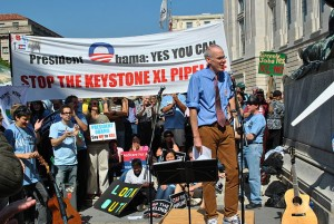 """Bill McKibben at Stop the Keystone XL pipeline rally"" by chesapeakeclimate - Bill McKibben. Licensed under CC BY-SA 2.0"