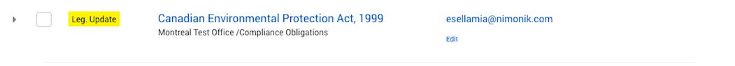 Nimonik Legislation Update Notification inTasks List