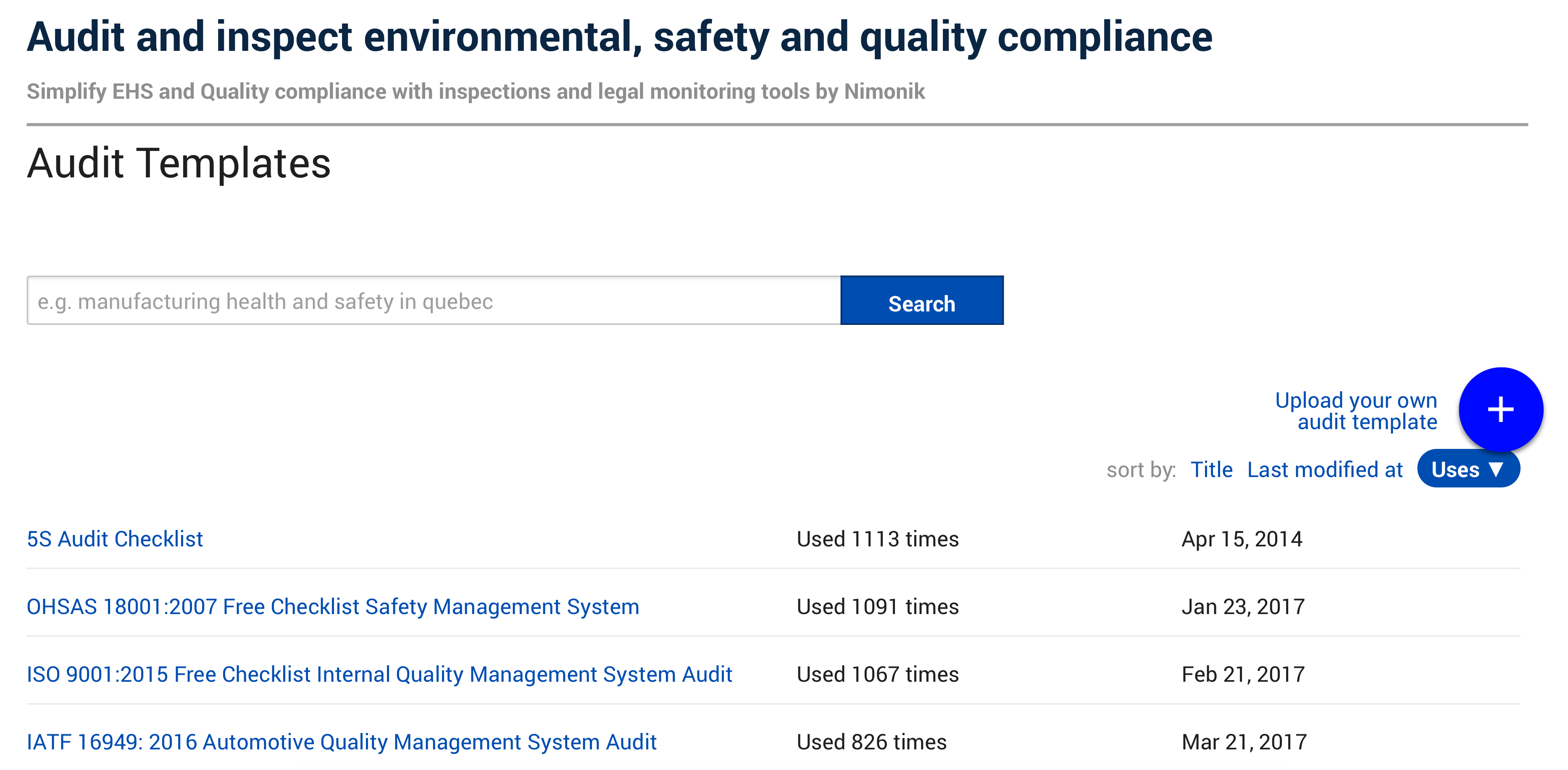 Audit and inspect safety, environmental and quality issues