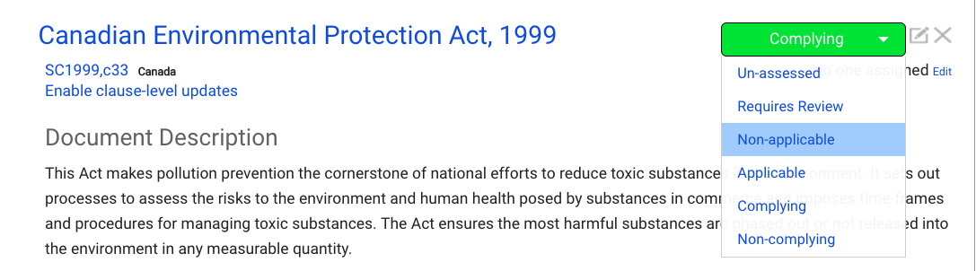 Nimonik - status change for Canadian Environmental Protection Act, 1999